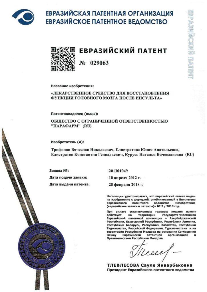 Евразийский патент 029063 Мемо-Вит Форте